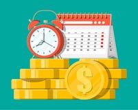 Klok, kalender en gouden muntstukken vector illustratie