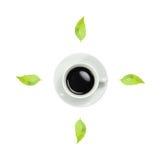 Klok kop van vers espresso en klokteken met witte achtergrond Stock Foto