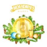 Klok met kaarsentribune op sparrentakken Kerstmis glanzend element Stock Foto's