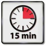 Klok met vijftien minuten Stock Foto's