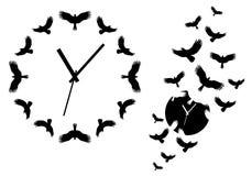Klok met vliegende vogels, vector Royalty-vrije Stock Afbeeldingen