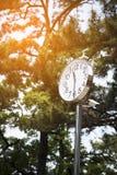 Klok met zonnecellen en motiecamera Stock Foto