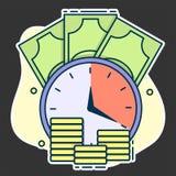 klok op de achtergrond van gouden muntstukken en papiergeld, concept uiterste termijn en investering of lening op lange termijn stock illustratie