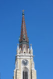 Klok op kathedraal, stad van Novi Sad, Servië, Uitgangsfestival plac Royalty-vrije Stock Foto's
