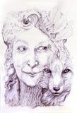 Klok shamanic kvinnaskoggudinna, med en andra natur av en räv Royaltyfri Fotografi