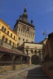 Klok toren-Sighisoara, Roemenië Stock Foto