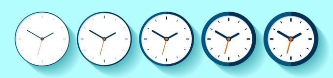 Klok in vlakke stijl, pictogramreeks Minimalistictijdopnemer op kleurenachtergrond Van dunne aan dikke lijnen Bedrijfshorloge Vec stock illustratie