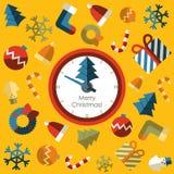 Klok. Vrolijke Kerstmis met achtergrondpictogram Stock Afbeeldingen
