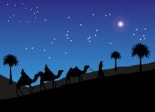Kloka män som följer stjärnan till Betlehem stock illustrationer