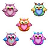 Kloka Owl Toppers 2 Royaltyfri Fotografi