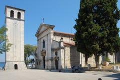 Klokketoren en kathedraal in pula royalty-vrije stock afbeeldingen