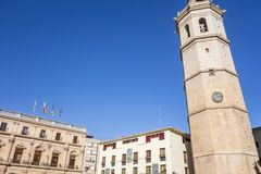 Klokketoren, Gr Fadri in Pleinburgemeester, Hoofdvierkant Castellon, Spanje Stock Foto's