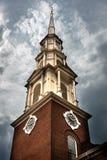 Klokketoren in het Stadhuis van Boston op een Bewolkte Dag Stock Foto