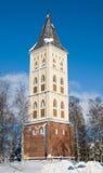 Klokketoren. Kerk van de Heilige Mary. Lappeenranta.   royalty-vrije stock afbeelding