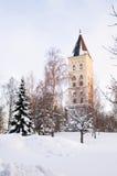 Klokketoren. Kerk van de Heilige Mary. Lappeenranta. royalty-vrije stock foto