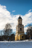 Klokketoren op de winterdag Stock Foto