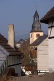 Klokketoren in oude Duitse stad Royalty-vrije Stock Foto's