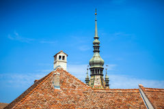 Klokketoren typische dak en chemnee van Sighisoara Royalty-vrije Stock Foto