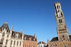 Klokketoren van Brugge in België Stock Fotografie