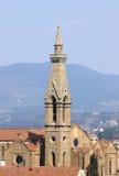 Klokketoren van Heilige Dwarsbasiliek in Florence Royalty-vrije Stock Foto