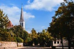 Klokketoren van Kerk van het heilige hart, La Chaux DE Fonds, Zwitserland stock foto's