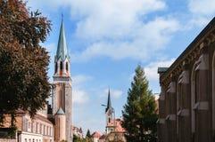 Klokketoren van Kerk van het heilige hart, La Chaux DE Fonds, Zwitserland stock foto