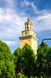 Klokketoren van Santa Maria Magdalena Church, Stockholm, Zweden stock fotografie