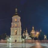 Klokketoren van St Sophia Cathedral in nacht Royalty-vrije Stock Foto's