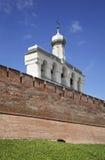 Klokketoren van St Sophia Cathedral in Novgorod Groot (Veliky Novgorod) Rusland Royalty-vrije Stock Afbeelding