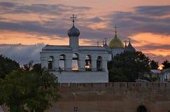 Klokketoren van St Sophia Cathedral in Novgorod Groot (Veliky Novgorod) Rusland Stock Foto's