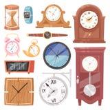 Klokten het klok vectorhorloge met uurwerk en wijzerplaat of de polshorloges op tijd met uur of minieme pijlenillustratie stock illustratie