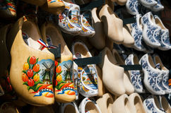Klomp - dutch clogs made of poplar wood, traditional shoes with colorful paintings. Royalty Free Stock Image