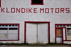 The Klondike Motors building in Dawson City, Yukon. Dawson City, Yukon is the heart of the world-famous Klondike Gold Rush stock photography