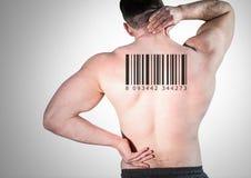 Klonen Sie Mann in der Reihe mit Rückseite des Barcodes an lizenzfreies stockfoto