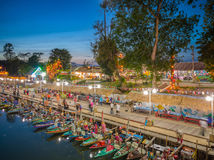 Klong Hae floating market in Hatyai Thailang. Twilight Time Royalty Free Stock Images