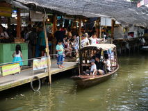 Klong Lat Mayom Floating Market, the old market in Thailand have a lot of eating food and dessert. royalty free stock images