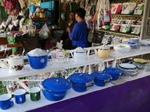 Klong Lat Mayom Floating Market, the old market in Thailand have a lot of eating food and dessert. Royalty Free Stock Photos