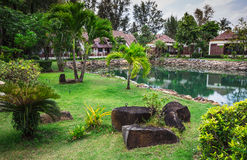 Klong Prao Resort. Cottages on the Bay in a tropical garden Royalty Free Stock Photo