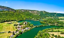 Kloof van de rivier van Ain in Frankrijk royalty-vrije stock foto's