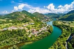 Kloof van de rivier van Ain in Frankrijk royalty-vrije stock afbeeldingen