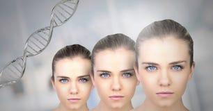 Kloonvrouwen met genetische DNA royalty-vrije stock foto's