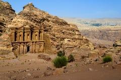 Klooster bij Petra, Jordanië Stock Foto's