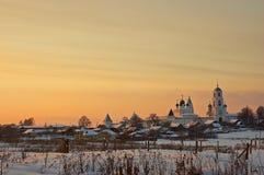 Klooster bij zonsondergang. Stock Foto's
