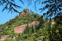 Klooster Escornalbou in Spanje, Tarragona, Catalunya, hoofdbildi Royalty-vrije Stock Afbeeldingen