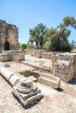 Klooster in Messara-Vallei bij het eiland van Kreta in Griekenland Messara - is grootste vlakte in Kreta Stock Fotografie