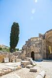 Klooster in Messara-Vallei bij het eiland van Kreta in Griekenland Messara - is grootste vlakte in Kreta Royalty-vrije Stock Foto