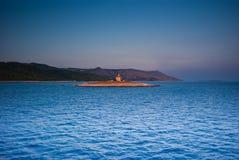 Klooster op eiland in Adriatische overzees Stock Afbeeldingen