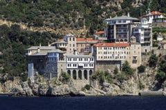 Klooster Osiou Grigoriou & x28; St Gregory& x29; bij Onderstel Athos stock foto's