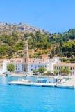 Klooster Panormitis Het eiland van Symi stock foto