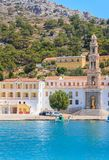 Klooster Panormitis Het eiland van Symi stock foto's